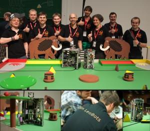 Collage und Teamfoto vom Eurobot 2014 an der TU Dresden